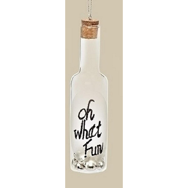"6"" Clear Glass Wine Bottle Inscribed ""Oh What Fun""with Jingle Bells Christmas Ornament"""