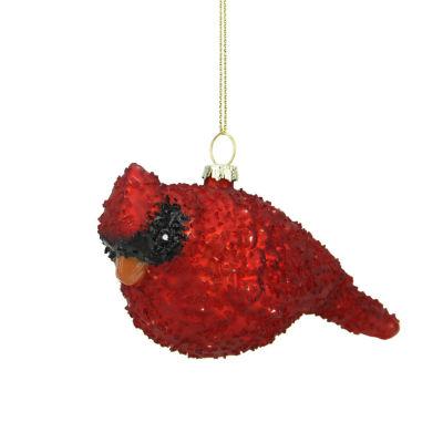 "6"" Glass Red Cardinal Bird Christmas Ornament"""