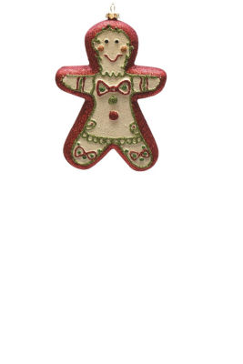 "6"" Merry & Bright Red  White and Green Glittered Shatterproof Gingerbread Boy Christmas Ornament"""