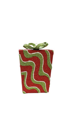 "6"" Merry & Bright Red Green and White Glitter Swirl Shatterproof Gift Box Christmas Ornament"""