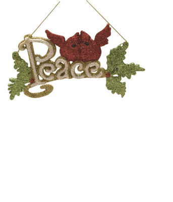 """6"""" Merry & Bright White  Green and Red Glitter """"Peace"""" Inspirational Christmas Ornament"""""""