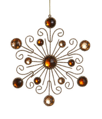 "6"" Royal Symphony Bronze Gold Glittered and Jeweled Snowflake Christmas Ornament"""