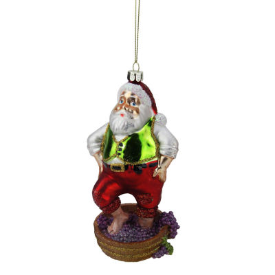 """6"""" Tuscan Winery Santa Claus Stomping Grapes GlassChristmas Ornament"""""""