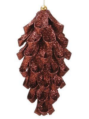 "6.25"" Fancy Metallic Brown Glitter Pine Cone Christmas Ornament"""