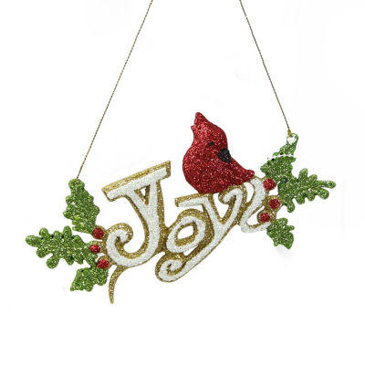 """6.25"""" Merry & Bright White  Green and Red Glitter""""Joy"""" Inspirational Christmas Ornament"""""""