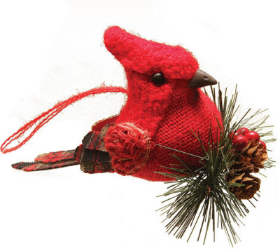 "6.25"" Red Burlap and Plaid Cardinal on Pine SprigChristmas Ornament"""