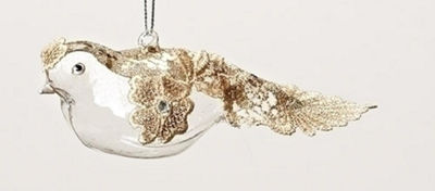 "6.5"" Elegant Gold Glitter  Lace and Rhinestone Glass Bird Christmas Ornament"""
