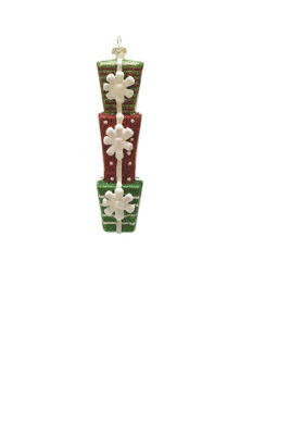 "6.5"" Merry & Bright Green  Red and White GlitteredStacked Gift Box Christmas Ornament"""