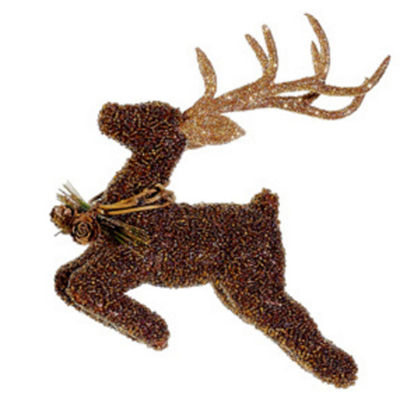 "6.5"" Metallic Beaded Reindeer Christmas Ornament"""