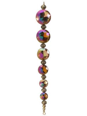 "6.5"" Regal Peacock Gold Iridescent Jewel Drop Finial Christmas Ornament"""