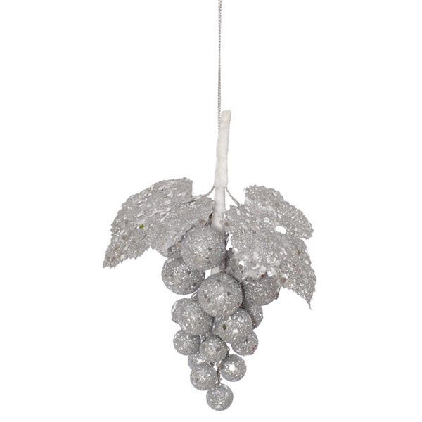 "6.5"" Silver Sleigh Ride Glittered and Sequined Grape Cluster Christmas Ornament"""