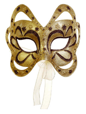 "6.75"" Gold and Brown Glittered Floral Masquerade Mask Christmas Ornament"""