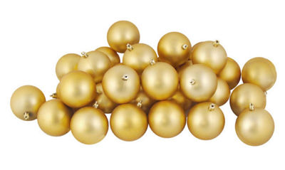 "60ct Matte Vegas Gold Shatterproof Christmas BallOrnaments 2.5"" (60mm)"""