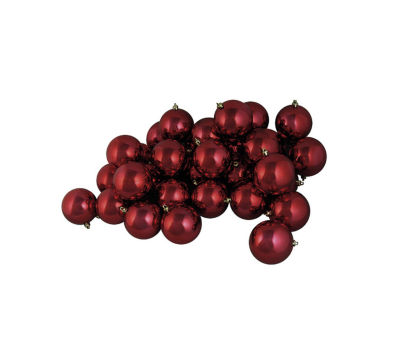 "60ct Shiny Burgundy Red Shatterproof Christmas Ball Ornaments 2.5"" (60mm)"""
