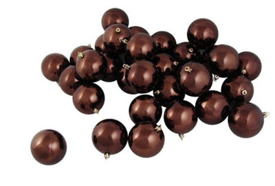 "60ct Shiny Chocolate Brown Shatterproof ChristmasBall Ornaments 2.5"" (60mm)"""