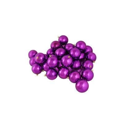 "60ct Shiny Orchid Purple Shatterproof Christmas Ball Ornaments 2.5"" (60mm)"""