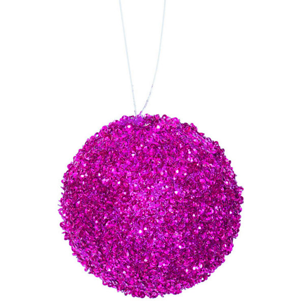 "6ct Bright Fuschia Sequin and Glitter Drenched Christmas Ball Ornaments 3"" (80mm)"""