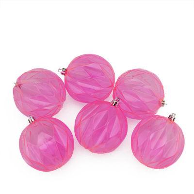 "6ct Bubblegum Pink Transparent Rhombus Cut Shatterproof Christmas Ball Ornaments 3"""