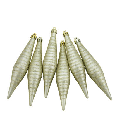 """6ct Champagne Gold Glitter Stripes Shatterproof Finial Drop Christmas Ornaments 5.75"""""""