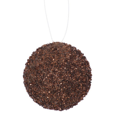 "6ct Chocolate Brown Sequin and Glitter Drenched Christmas Ball Ornaments 3"" (80mm)"""