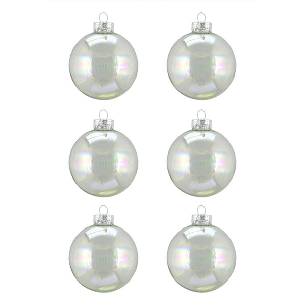 "6ct Clear Iridescent Glass Ball Christmas Ornaments 2.5"" (65mm)"""