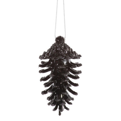 6-pc Jet Black Glittered Shatterproof Pine Cone Christmas Ornaments 3.5