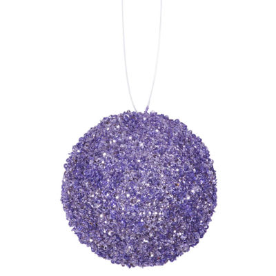 """6ct Lavender Purple Sequin and Glitter Drenched Christmas Ball Ornaments 3"""" (80mm)"""""""