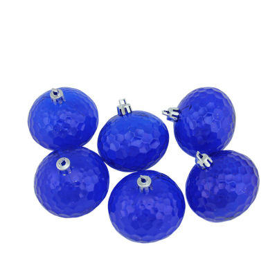 "6ct Lavish Blue Transparent Shatterproof HammeredDisco Ball Christmas Ornaments 2.5"" (60mm)"""