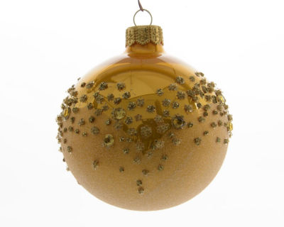 "6ct Luxury Lodge Shiny Embellished Gold Colored Christmas Ball Ornaments 3.25"" (80mm)"""