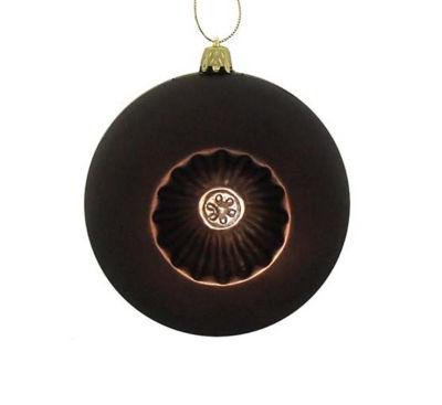"6ct Matte Brown Retro Reflector Shatterproof Christmas Ball Ornaments 4"""