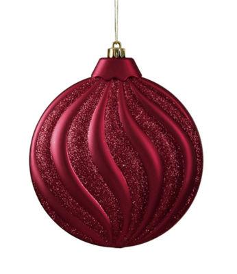 "6ct Matte Burgundy Glitter Swirl Shatterproof Christmas Disc Ornaments 6.25"""