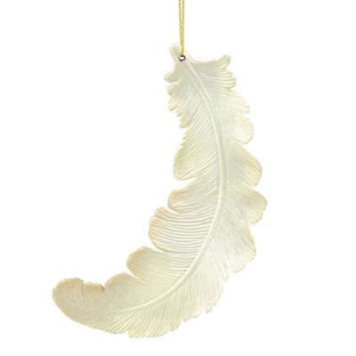 6ct Matte Champagne Feather Shatterproof ChristmasOrnaments 6""