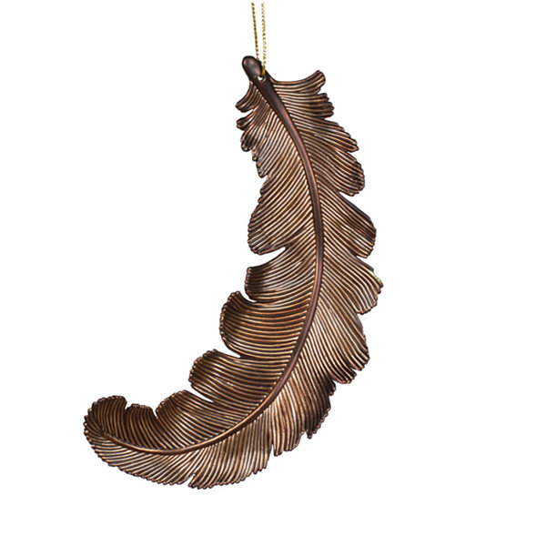 6ct Matte Chocolate Brown Feather Shatterproof Christmas Ornaments 6""