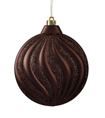 6ct Matte Chocolate Brown Swirl Shatterproof Christmas Disc Ornaments 6.25""