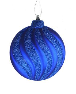 "6ct Matte Lavish Blue Swirl Shatterproof ChristmasDisc Ornaments 6.25"""