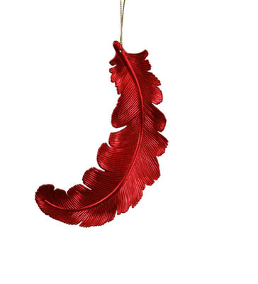 6ct Matte Red Hot Feather Shatterproof Christmas Ornaments 6""