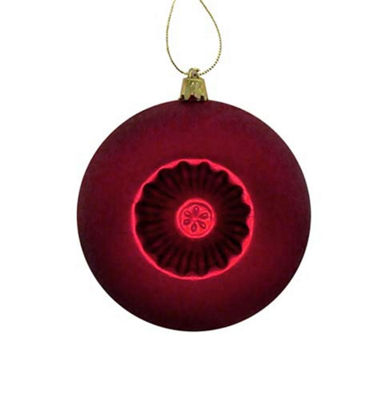 6ct Matte Red Hot Retro Reflector Shatterproof Christmas Ball Ornaments 4""