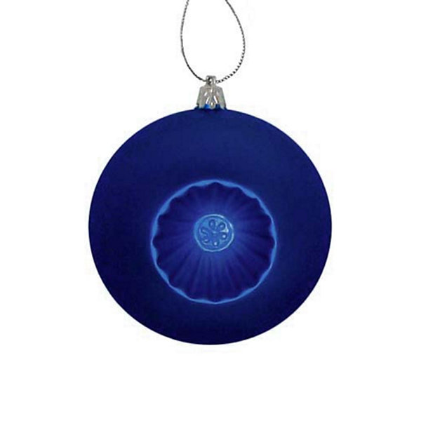 6ct Matte Royal Blue Retro Reflector ShatterproofChristmas Ball Ornaments 4""