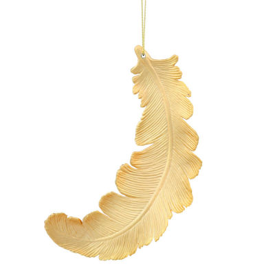 "6ct Matte Vegas Gold Feather Shatterproof Christmas Ornaments 6"""