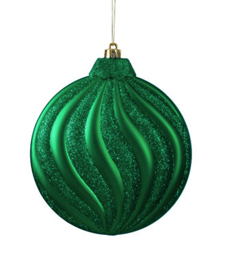 6ct Matte Christmas Green Glitter Swirl Shatterproof Christmas Disc Ornaments 6.25""