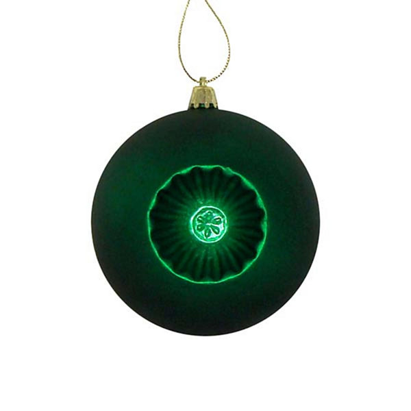6ct Matte Christmas Green Retro Reflector Shatterproof Christmas Ball Ornaments 4""