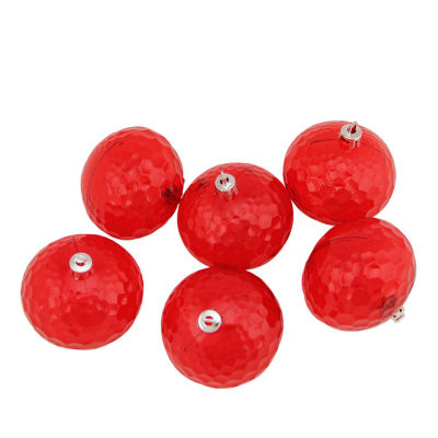 """6ct Red Hot Transparent Shatterproof Hammered Disco Ball Christmas Ornaments 2.5"""" (60mm)"""""""