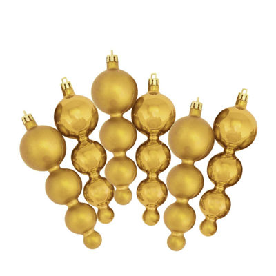 6ct Shiny and Matte Vegas Gold Finial ShatterproofChristmas Ornaments 5.75""