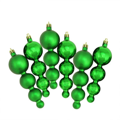 6ct Shiny and Matte Christmas Green Finial Shatterproof Christmas Ornaments 5.75""