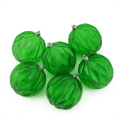 6ct Christmas Green Transparent Rhombus Cut Shatterproof Christmas Ball Ornaments 3""