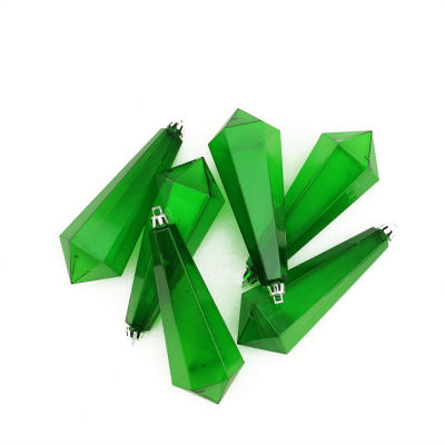 6ct Christmas Green Transparent Shatterproof Diamond Shaped Icicle Christmas Ornaments 5.5""
