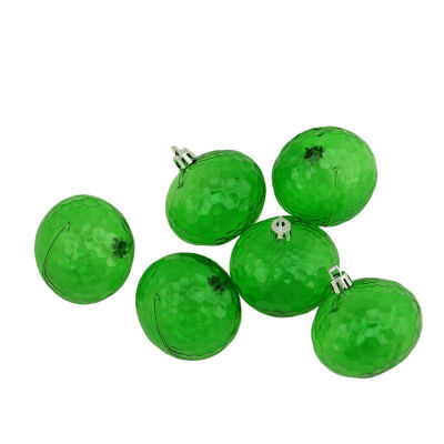 """6ct Christmas Green Transparent Shatterproof Hammered Disco Ball Christmas Ornaments 2.5"""" (60mm)"""""""