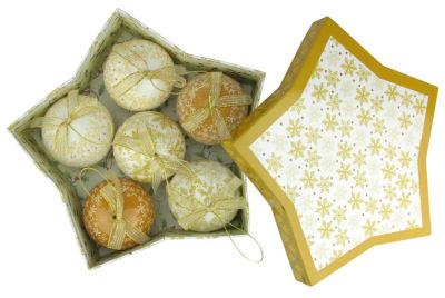 """6-Piece Brown and White Decoupage Snowflake and Tree Shatterproof Christmas Ball Ornament Set 2.75"""""""