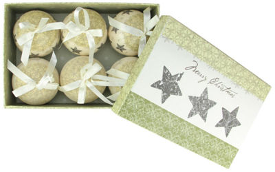 6-Piece Cream White Merry Christmas and Stars Decoupage Shatterproof Ball Ornament Set 2.75""