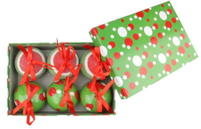 """6-Piece Red  White and Green Polka Dot Decoupage Shatterproof Christmas Ball Ornament Set 2.75"""""""